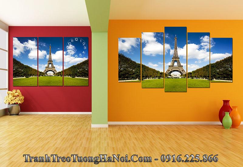 Tranh treo tường phòng khách châu âu tháp Eiffel