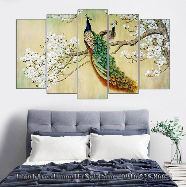 Tranh doi chim cong moc lan treo phong ngu dep amia 1100