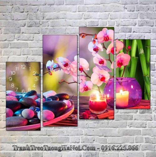 Tranh treo tuong spa hoa lan nen tim