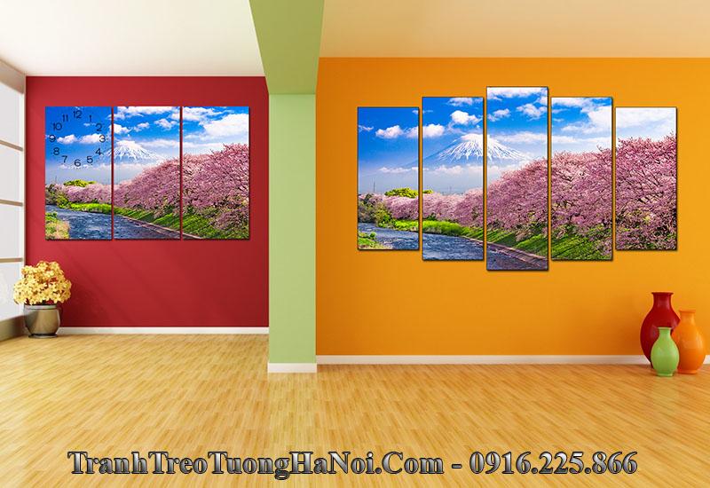 Tranh cảnh đẹp Nhật Bản treo tường phòng khách hiện đại