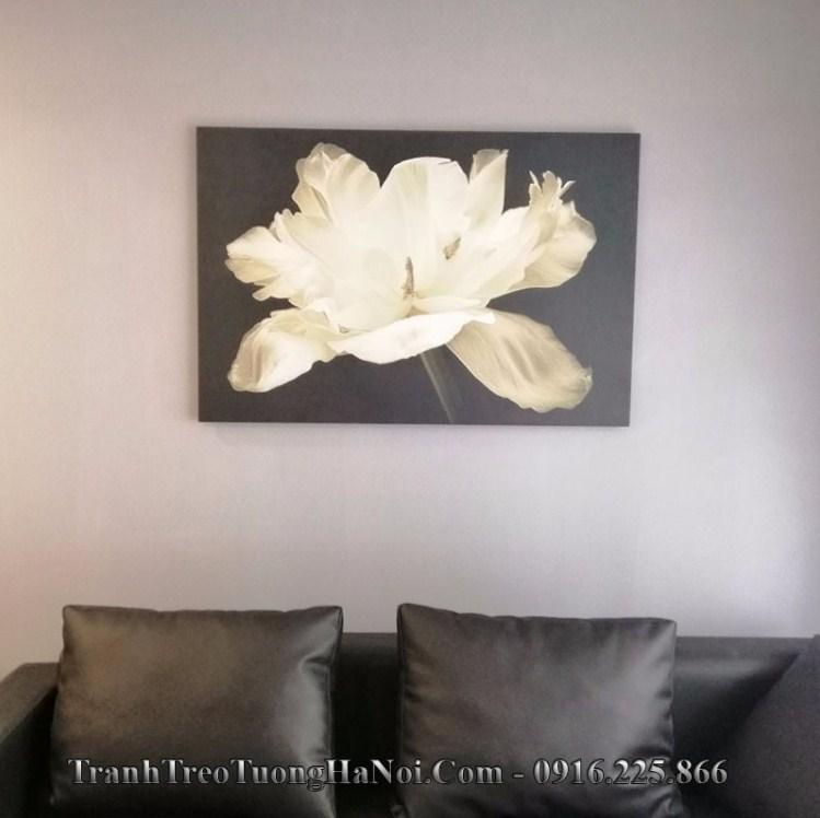 Tranh treo tường bắc âu hoa trắng