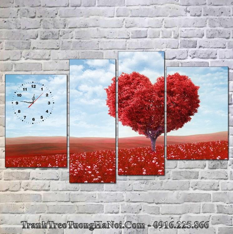 Tranh cây đỏ treo tường hợp mệnh Hỏa