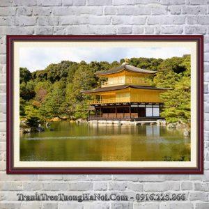 Tranh chùa vàng treo tường phòng khách đẹp