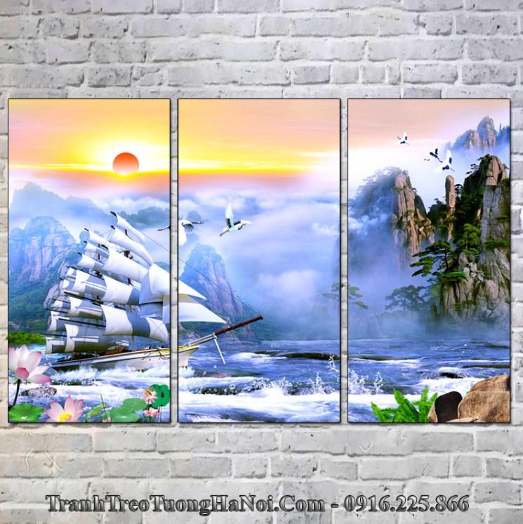 Tranh thuyền buồm treo tường hợp mệnh Thủy 1996, 1997