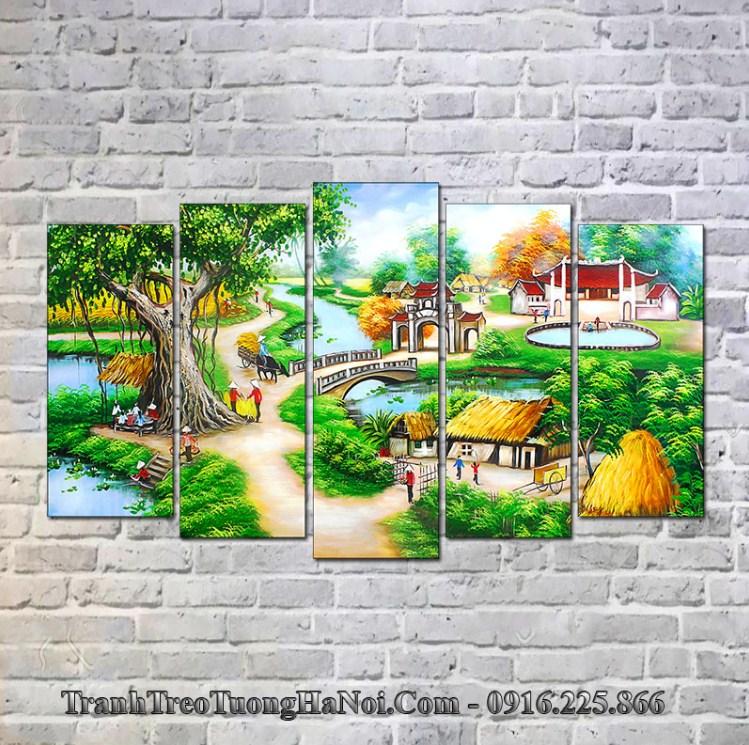 Tranh làng quê treo tường phòng khách đẹp
