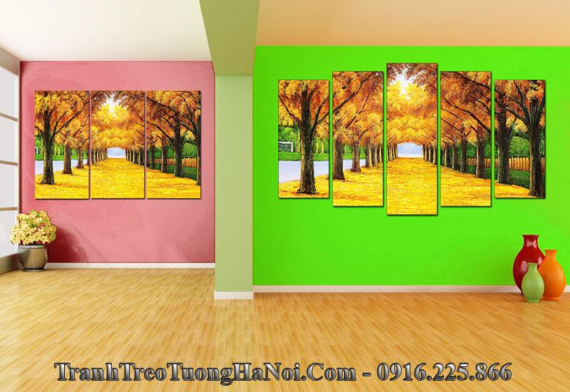 Tanh hàng cây treo tường phòng khách đẹp