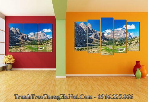 Tranh phong cảnh đẹp núi đồi treo tường phòng khách