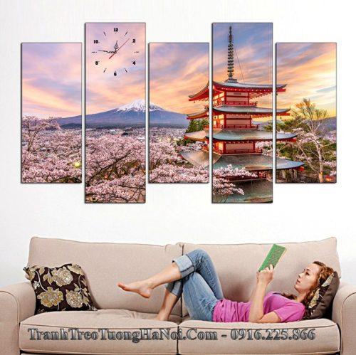 Tranh treo tường phòng khách chùa Chureito và núi phú sỹ
