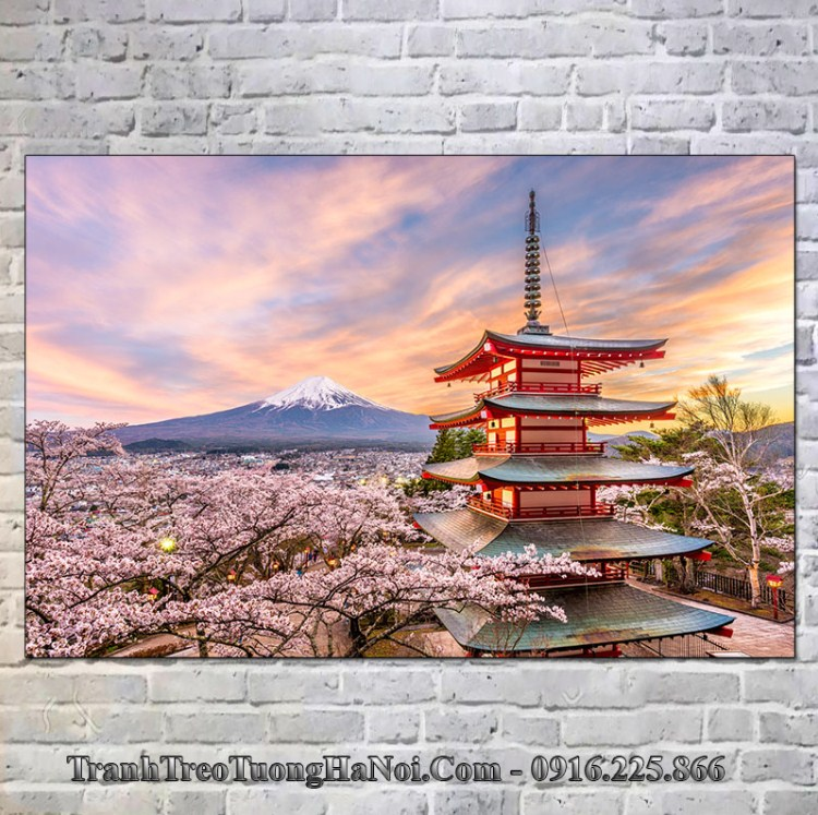 Tranh chùa chureito treo tường phòng khách