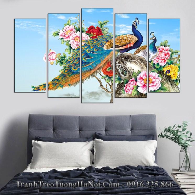 Tranh vo chong chim cong tren khom hoa mau don amia 1606