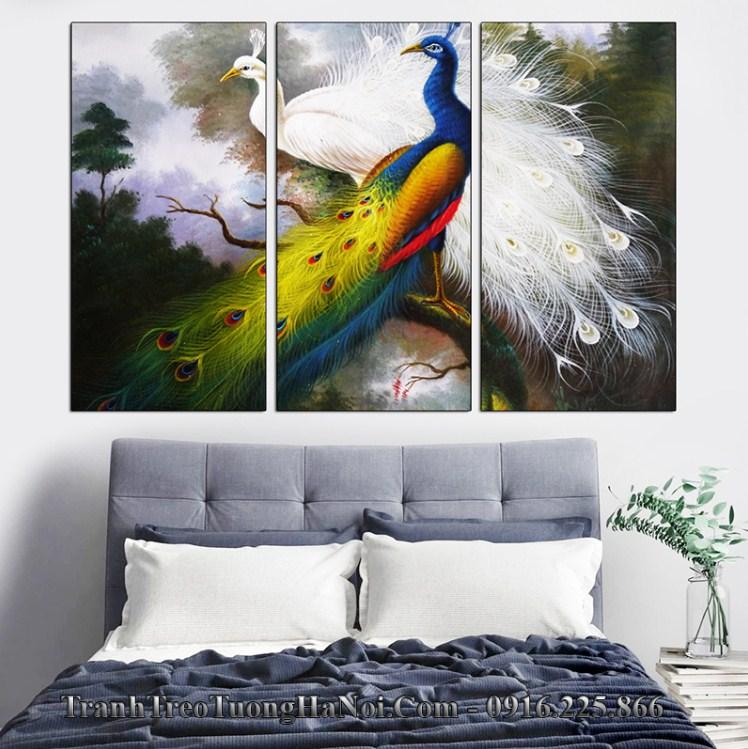 Tranh doi chim cong trang tri phong ngu dep amia 4199