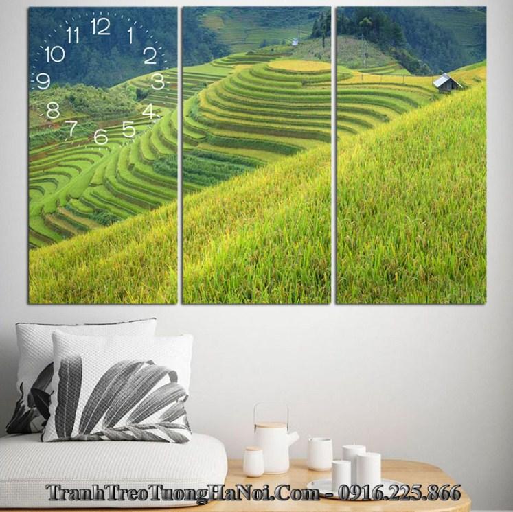 Tranh dong ho ruong bac thang treo tuong 3 tam amia 993
