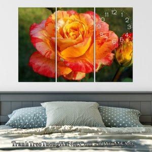 Tranh treo tuong phong ngu vo chong hoa hong cam