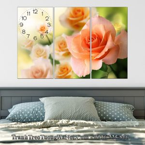 Tranh hoa hong cam treo phong ngu nhe nhang