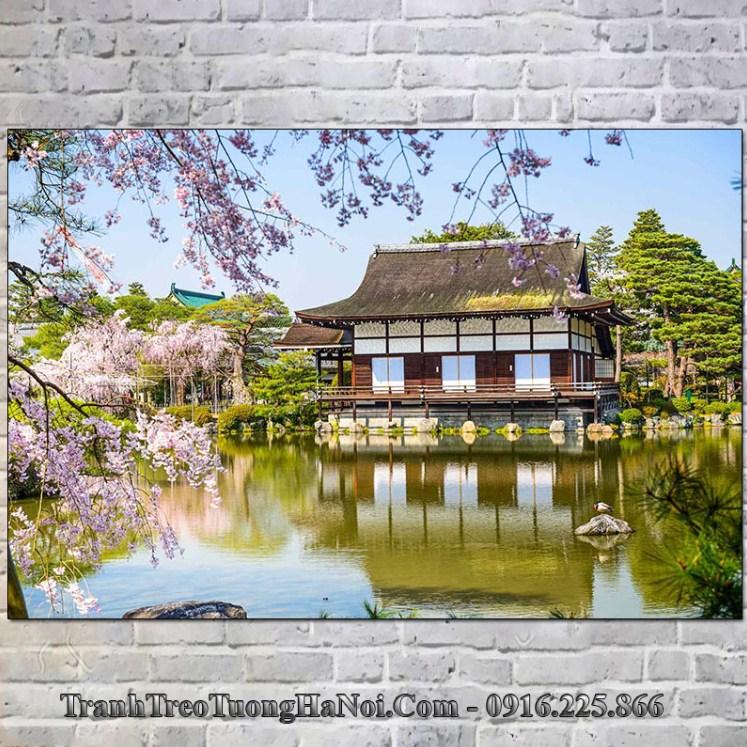 Tranh cảnh đẹp vườn ao tại đền Heian Nhật Bản
