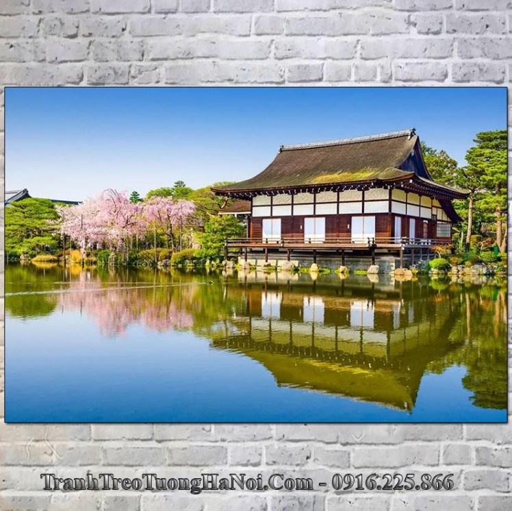 Tranh phong cảnh đẹp vườn ao tại đền Heian Nhật Bản