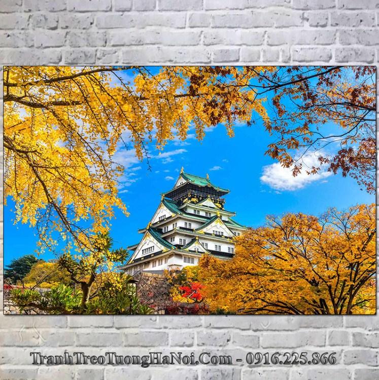 tranh treo tường thành osaka nhật bản nổi tiếng