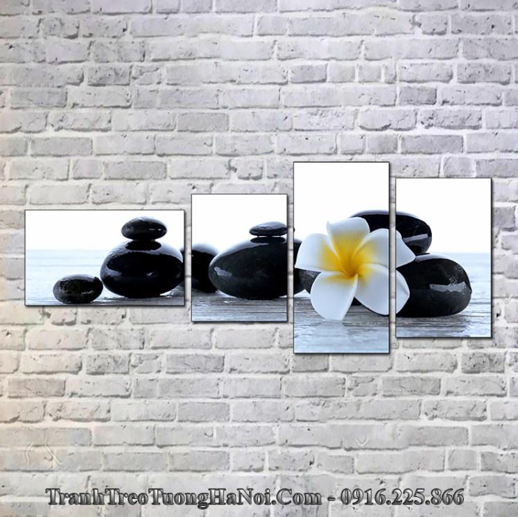 Tranh hoa đá màu đen trắng hợp mệnh Hải Trung Kim