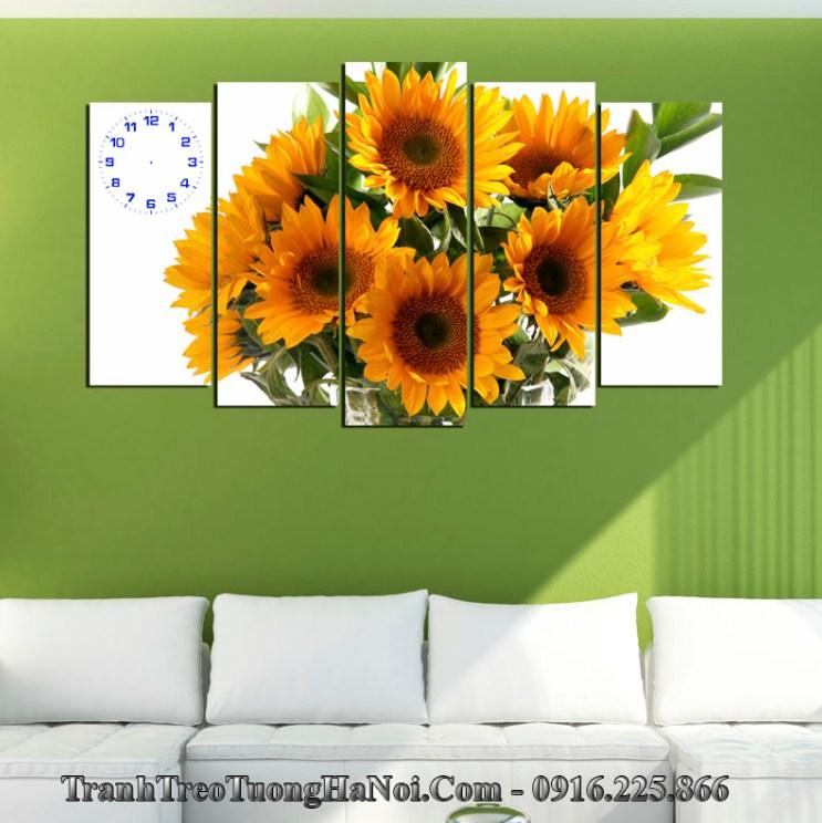 Tranh hoa hướng dương thuộc Hỏa treo tường cho người mệnh Bạch Lạp Kim