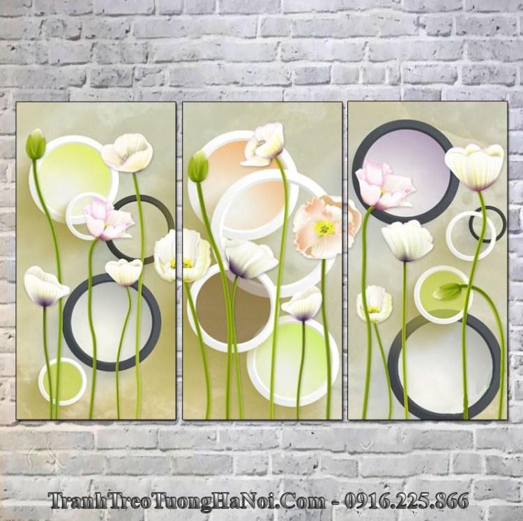 Tranh hoa treo tường màu trắng hợp mệnh Hải Trung Kim