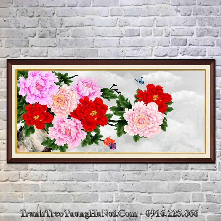 Tranh hoa mẫu đơn 9 bông treo tường hợp mệnh Thổ 1990, 1991