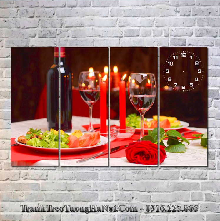 Tranh treo tường bàn ăn nến hoa cho người mệnh Ốc Thượng Thổ