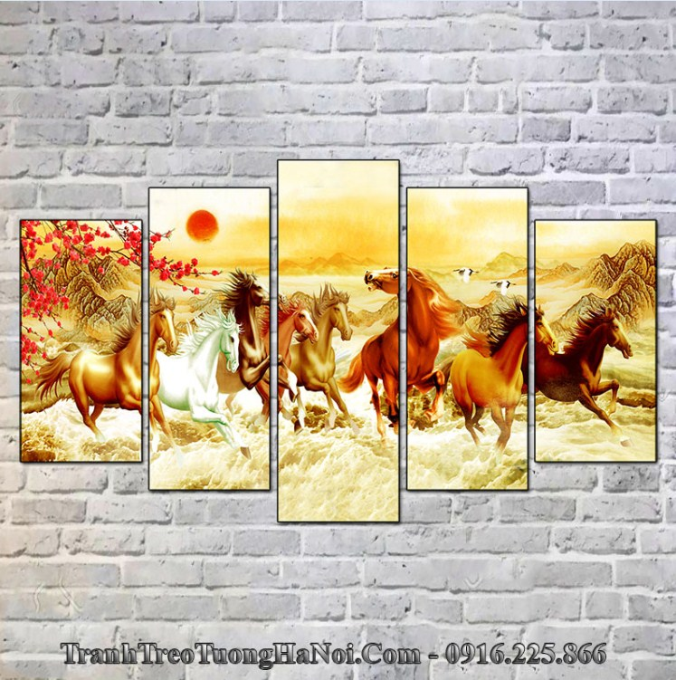 Tranh Ngựa treo tường hành Hỏa cho người mệnh Bạch Lạp Kim