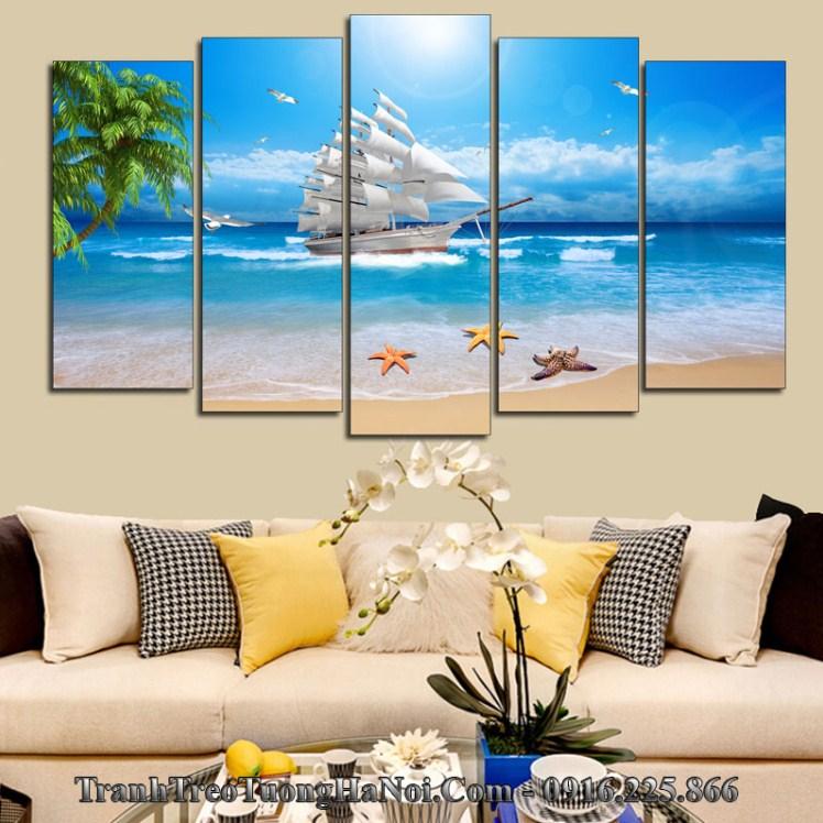 Tranh thuyền biển xanh hợp mệnh Hải Trung Kim