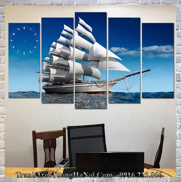 Tranh thuyền buồm treo tường hợp thoa xuyến kim
