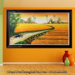 Tranh treo tường phòng khách đồng quê lúa chín