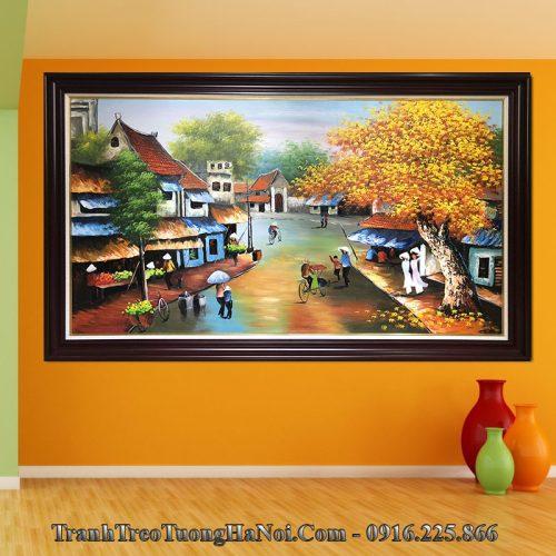 Tranh phố cổ được vẽ sơn dầu treo tường phòng khách đẹp