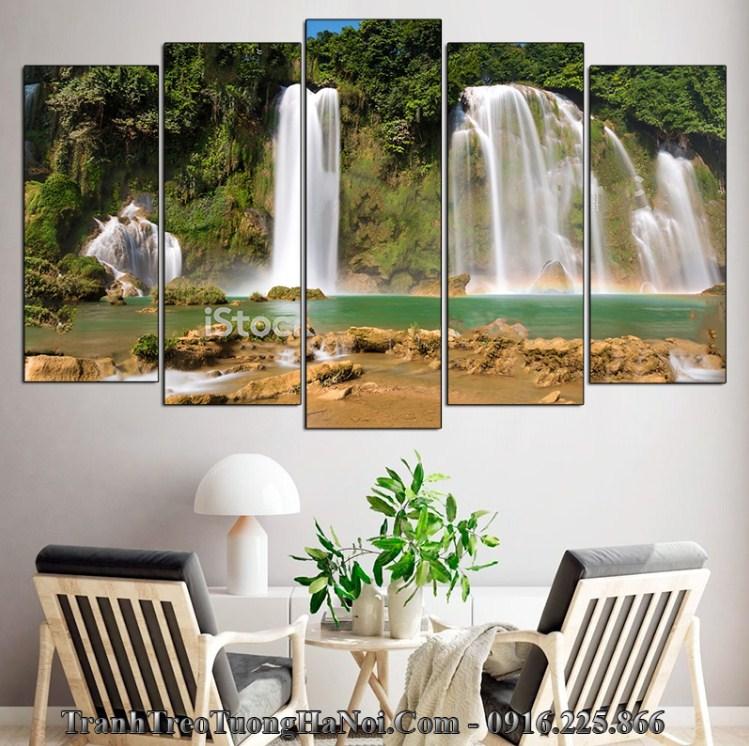 Tranh thác nước phụ ở bản giốc treo tường phòng khách đẹp