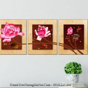 Bo tranh treo tuong hoa sen 3D nghe thuat amia 1532