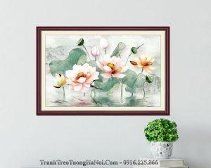 Tranh 3D hoa sen trong ho gia son dau nghe thuat amia 1620
