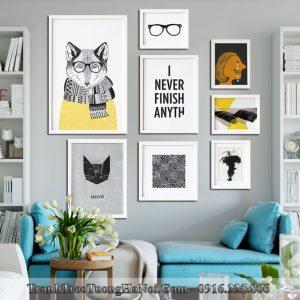 Tranh treo phong khach hien dai bo khung tranh bac au amia 4245
