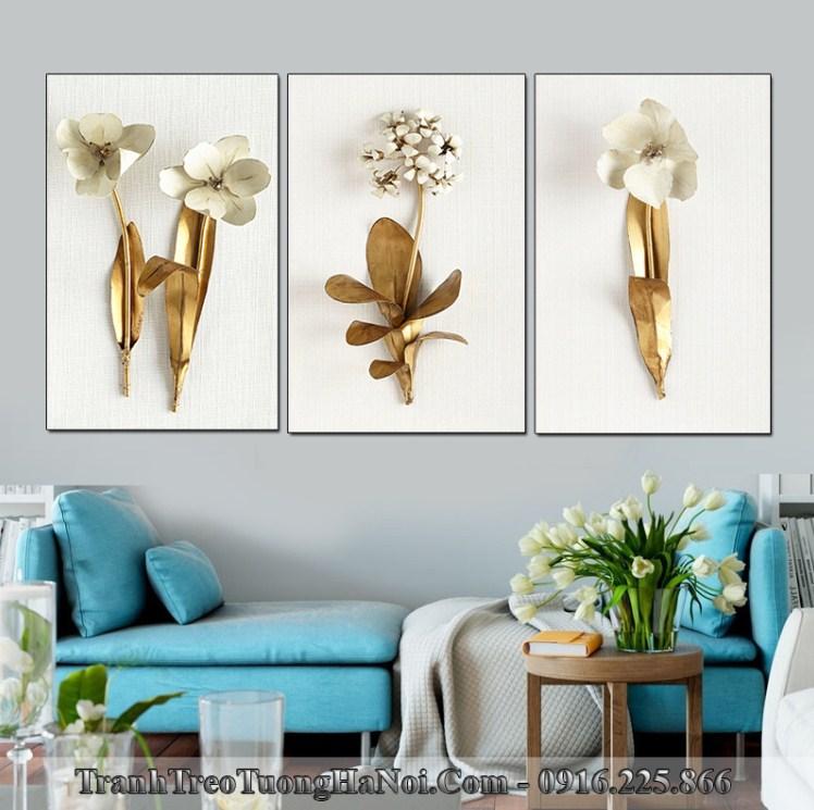 Tranh hoa 3D dep treo phong khach hien dai