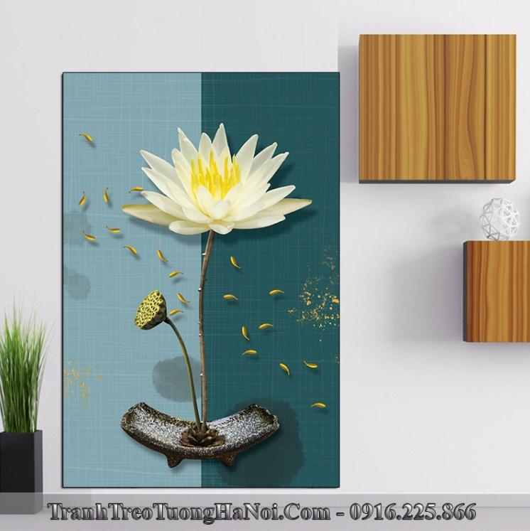 Tranh hoa sen trang 3D treo o am tuong phong khach