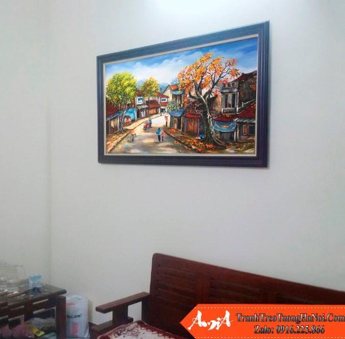 tranh vẽ phố cổ hà nội treo phòng khách sang trọng tsd 371