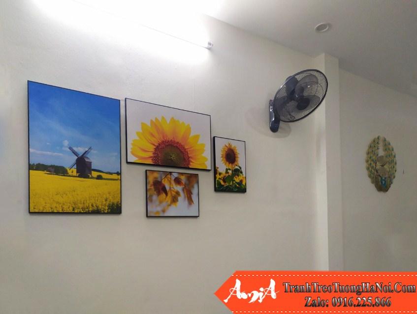 Tranh ghep huong duong 4 tam canvas treo tuong amia hd125