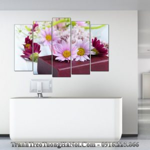 Tranh spa sáp thơm hoa nến treo tường 5 tấm AmiA sp110