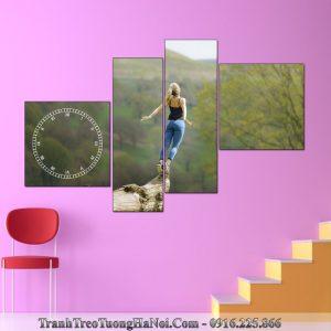 Tranh yoga spa hinh co gai hit tho khi troi amia sp121