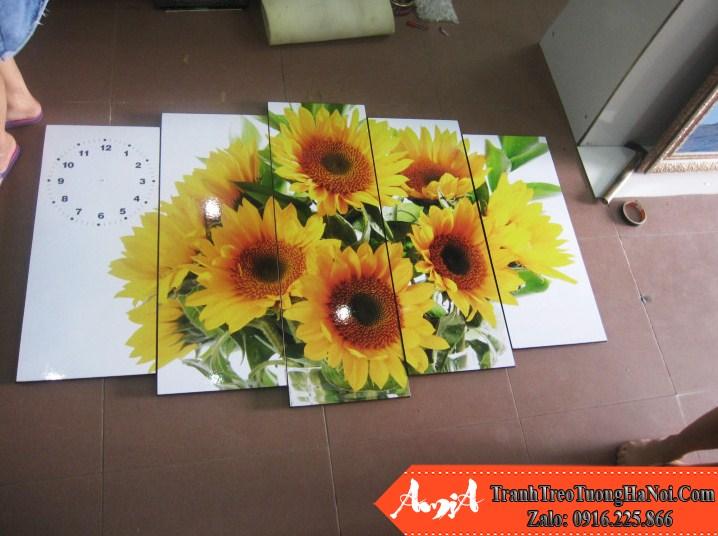 Tranh lo hoa nhieu bong hoa huong duong kho lon amia 123