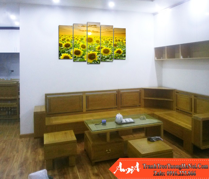 Tranh treo tren ghe sofa chung cu phong canh dong hoa huong duong amia 1409