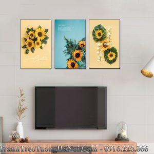 Tranh gia 3D hoa huong duong treo tuong 3 tam AmiA 919027
