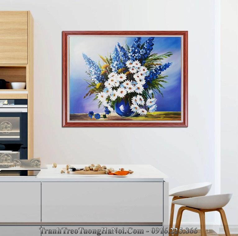 Tranh son dau ve binh hoa cuc hoa mi xanh biec
