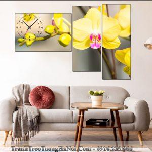 Dong ho tranh hoa lan mau vang phu quy treo tuong AmiA LNPQ112