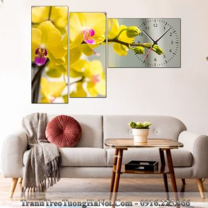 Dong ho tranh treo tuong hoa lan vang phu quy LNPQ111