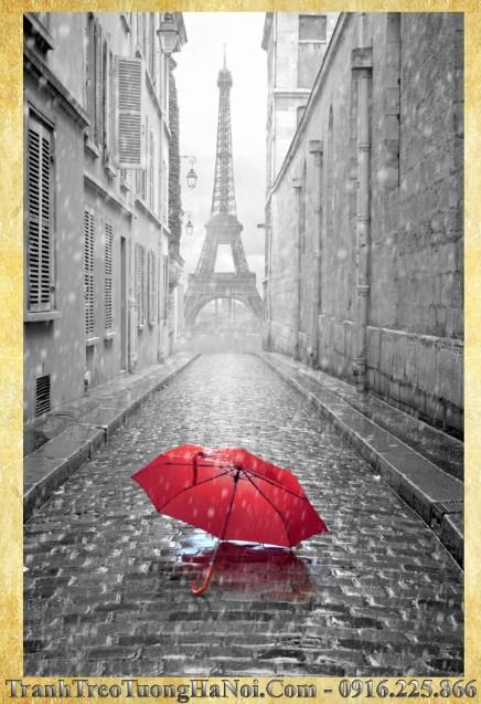 Tranh thap Eiffel mo suong den trang AmiA 1009B