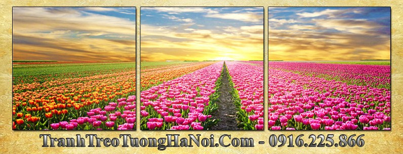 Tranh dong hoa tulip 3 tam vuong AmiA 3054