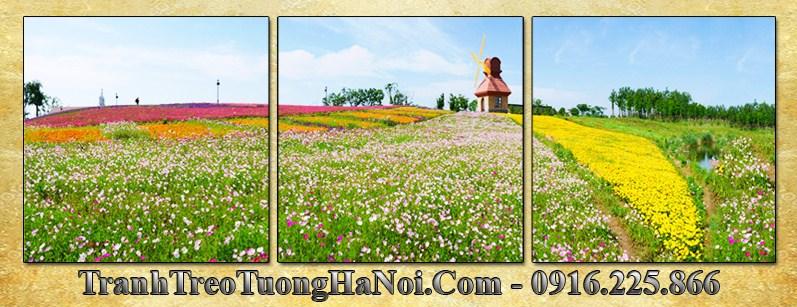 Tranh phong canh vuon hoa ha lan 3 tam amia 3059